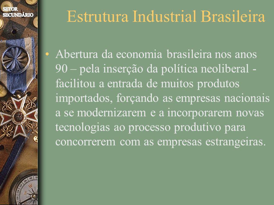 Estrutura Industrial Brasileira Abertura da economia brasileira nos anos 90 – pela inserção da política neoliberal - facilitou a entrada de muitos produtos importados, forçando as empresas nacionais a se modernizarem e a incorporarem novas tecnologias ao processo produtivo para concorrerem com as empresas estrangeiras.