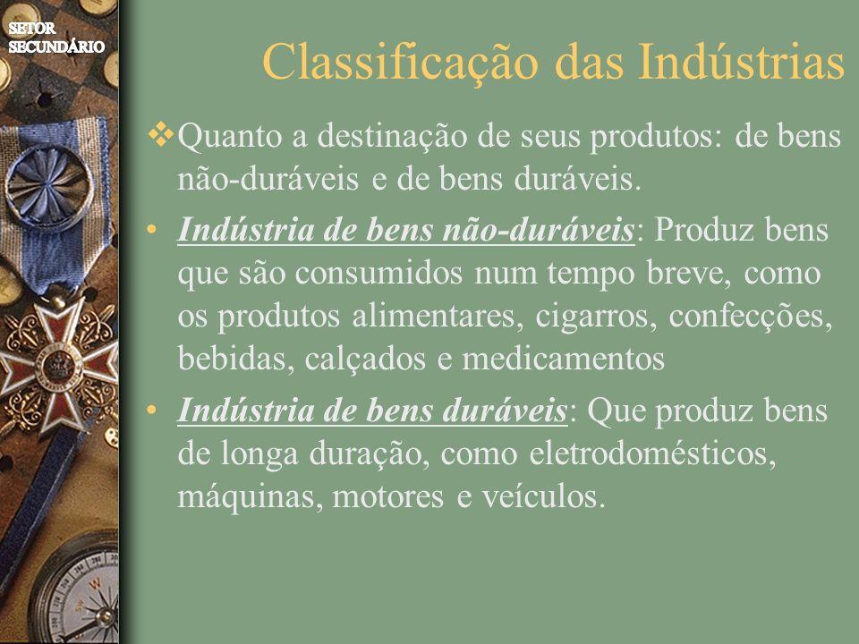 Quanto a destinação de seus produtos: de bens não-duráveis e de bens duráveis. Indústria de bens não-duráveis: Produz bens que são consumidos num temp
