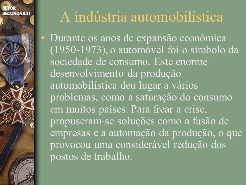 A indústria automobilística Durante os anos de expansão econômica (1950-1973), o automóvel foi o símbolo da sociedade de consumo. Este enorme desenvol