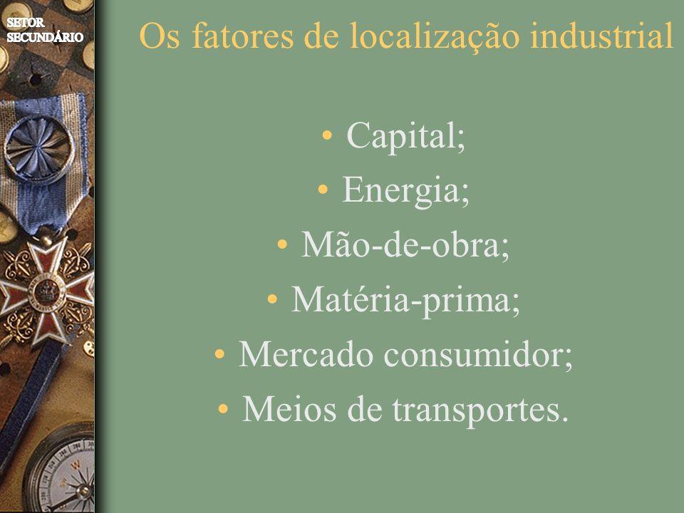 Capital; Energia; Mão-de-obra; Matéria-prima; Mercado consumidor; Meios de transportes. Os fatores de localização industrial