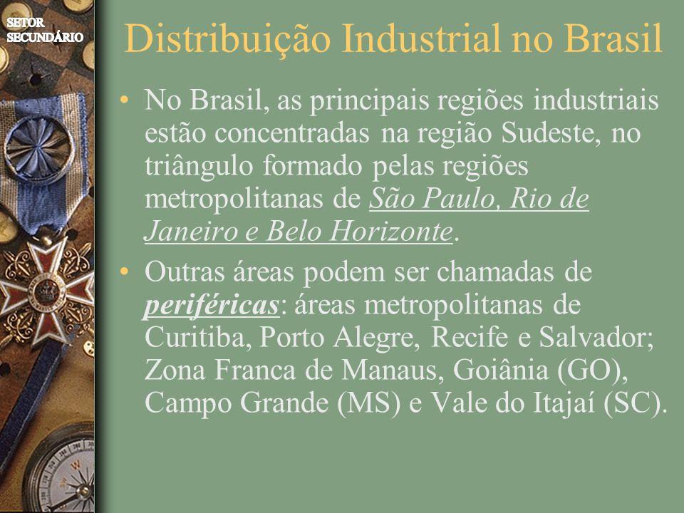Distribuição Industrial no Brasil No Brasil, as principais regiões industriais estão concentradas na região Sudeste, no triângulo formado pelas regiões metropolitanas de São Paulo, Rio de Janeiro e Belo Horizonte.