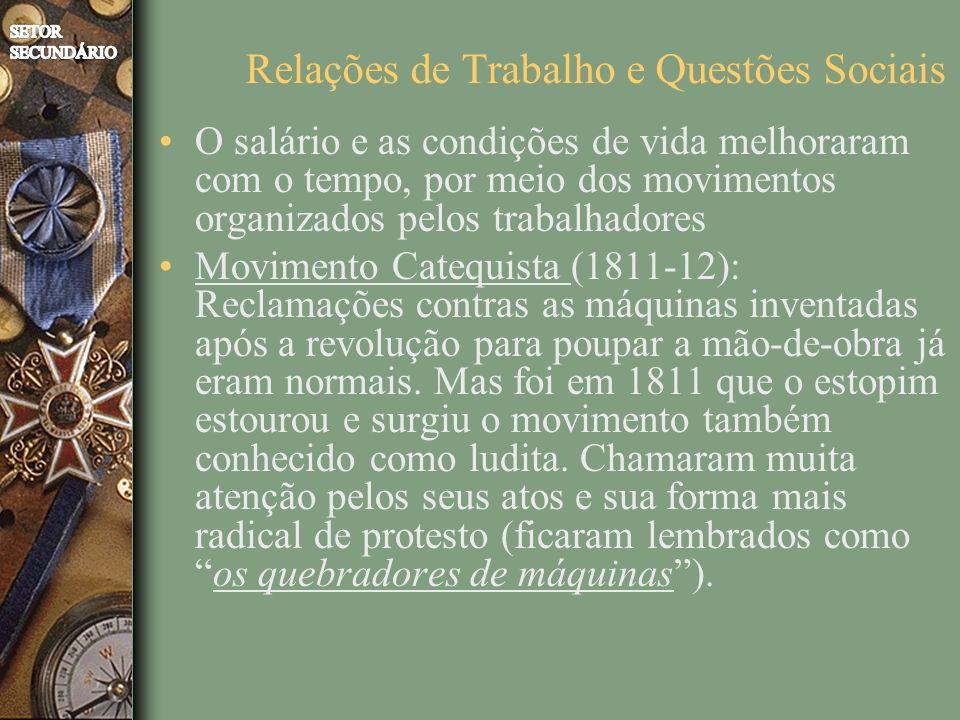O salário e as condições de vida melhoraram com o tempo, por meio dos movimentos organizados pelos trabalhadores Movimento Catequista (1811-12): Reclamações contras as máquinas inventadas após a revolução para poupar a mão-de-obra já eram normais.