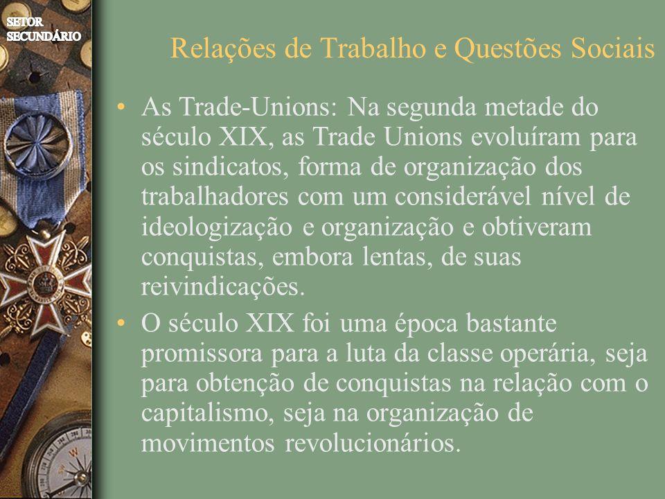 As Trade-Unions: Na segunda metade do século XIX, as Trade Unions evoluíram para os sindicatos, forma de organização dos trabalhadores com um considerável nível de ideologização e organização e obtiveram conquistas, embora lentas, de suas reivindicações.