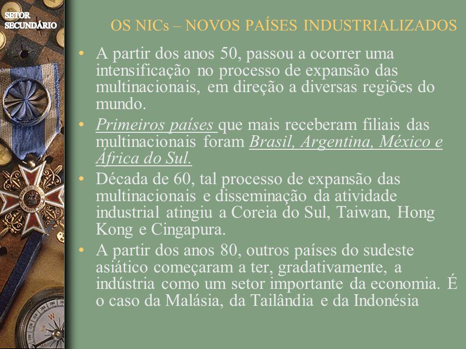 OS NICs – NOVOS PAÍSES INDUSTRIALIZADOS A partir dos anos 50, passou a ocorrer uma intensificação no processo de expansão das multinacionais, em direção a diversas regiões do mundo.