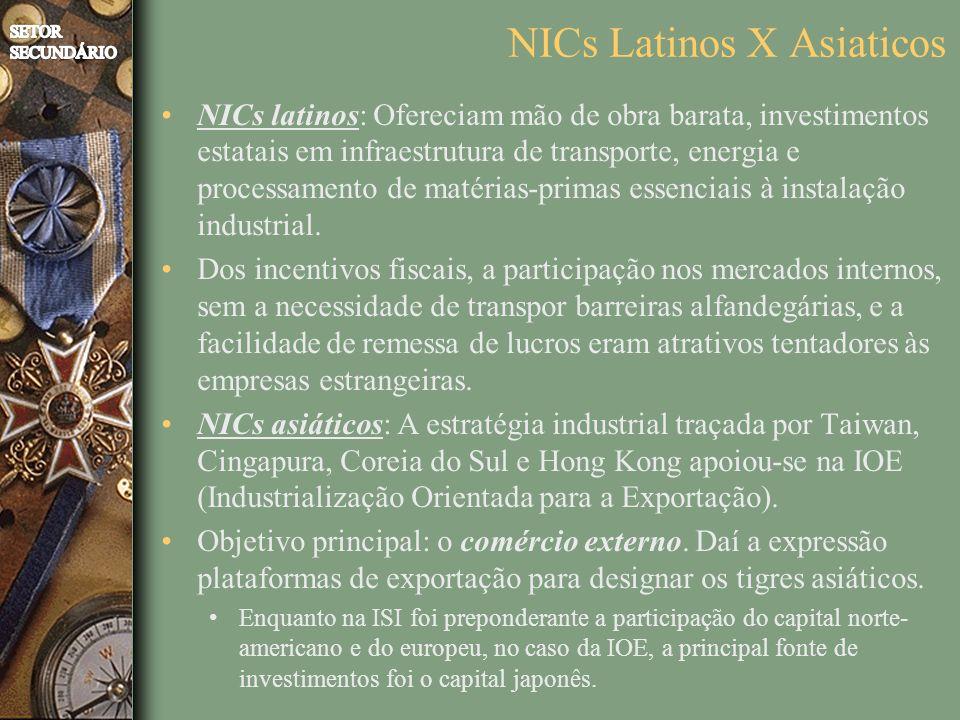 NICs Latinos X Asiaticos NICs latinos: Ofereciam mão de obra barata, investimentos estatais em infraestrutura de transporte, energia e processamento de matérias-primas essenciais à instalação industrial.