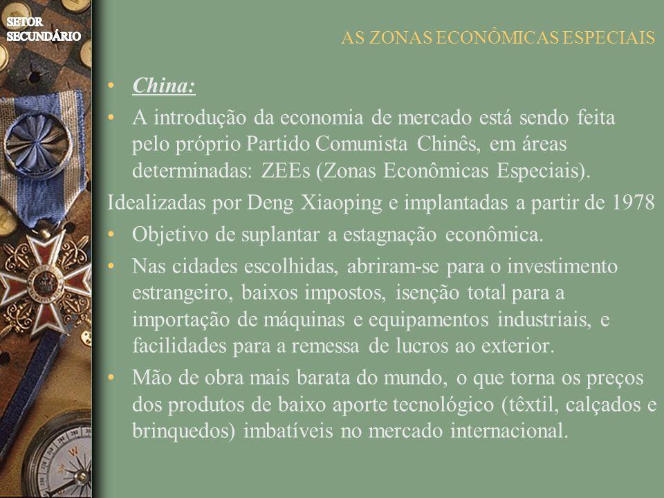 AS ZONAS ECONÔMICAS ESPECIAIS China: A introdução da economia de mercado está sendo feita pelo próprio Partido Comunista Chinês, em áreas determinadas: ZEEs (Zonas Econômicas Especiais).