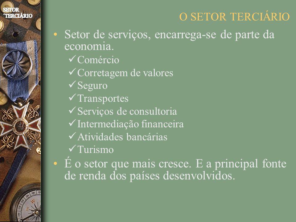O SETOR TERCIÁRIO Setor de serviços, encarrega-se de parte da economia. Comércio Corretagem de valores Seguro Transportes Serviços de consultoria Inte
