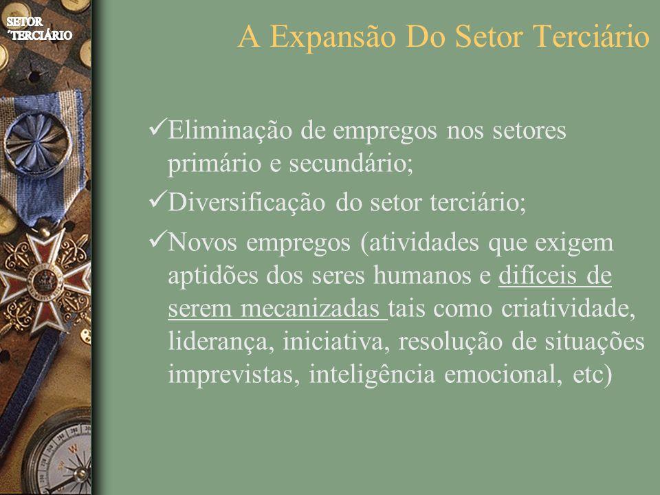 A Expansão Do Setor Terciário Eliminação de empregos nos setores primário e secundário; Diversificação do setor terciário; Novos empregos (atividades que exigem aptidões dos seres humanos e difíceis de serem mecanizadas tais como criatividade, liderança, iniciativa, resolução de situações imprevistas, inteligência emocional, etc)