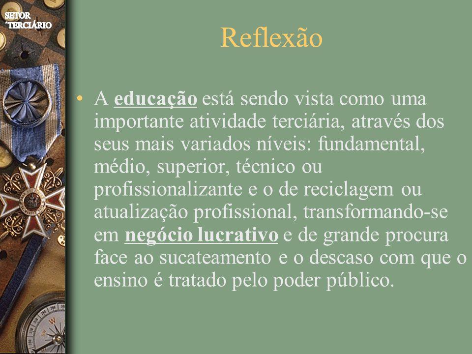 Reflexão A educação está sendo vista como uma importante atividade terciária, através dos seus mais variados níveis: fundamental, médio, superior, técnico ou profissionalizante e o de reciclagem ou atualização profissional, transformando-se em negócio lucrativo e de grande procura face ao sucateamento e o descaso com que o ensino é tratado pelo poder público.