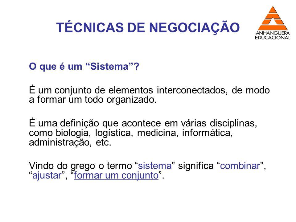 TÉCNICAS DE NEGOCIAÇÃO O que é um Sistema? É um conjunto de elementos interconectados, de modo a formar um todo organizado. É uma definição que aconte
