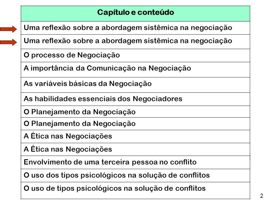 2 Capítulo e conteúdo Uma reflexão sobre a abordagem sistêmica na negociação O processo de Negociação A importância da Comunicação na Negociação As va