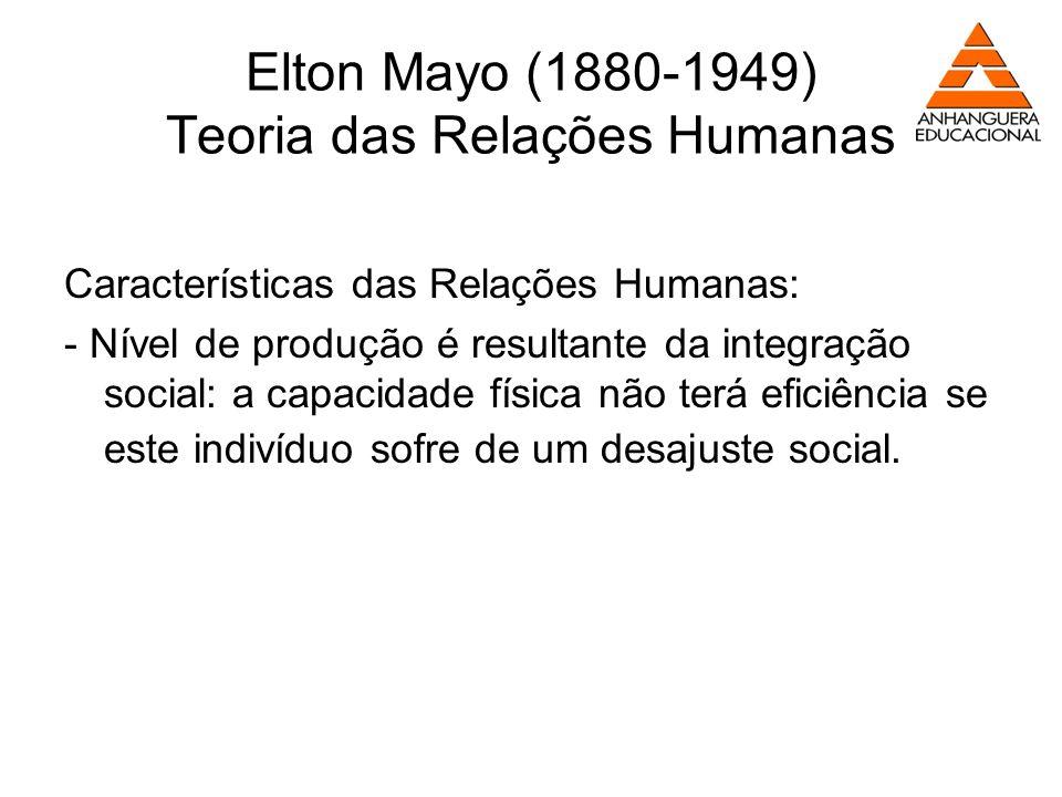 Elton Mayo (1880-1949) Teoria das Relações Humanas Características das Relações Humanas: - Nível de produção é resultante da integração social: a capa