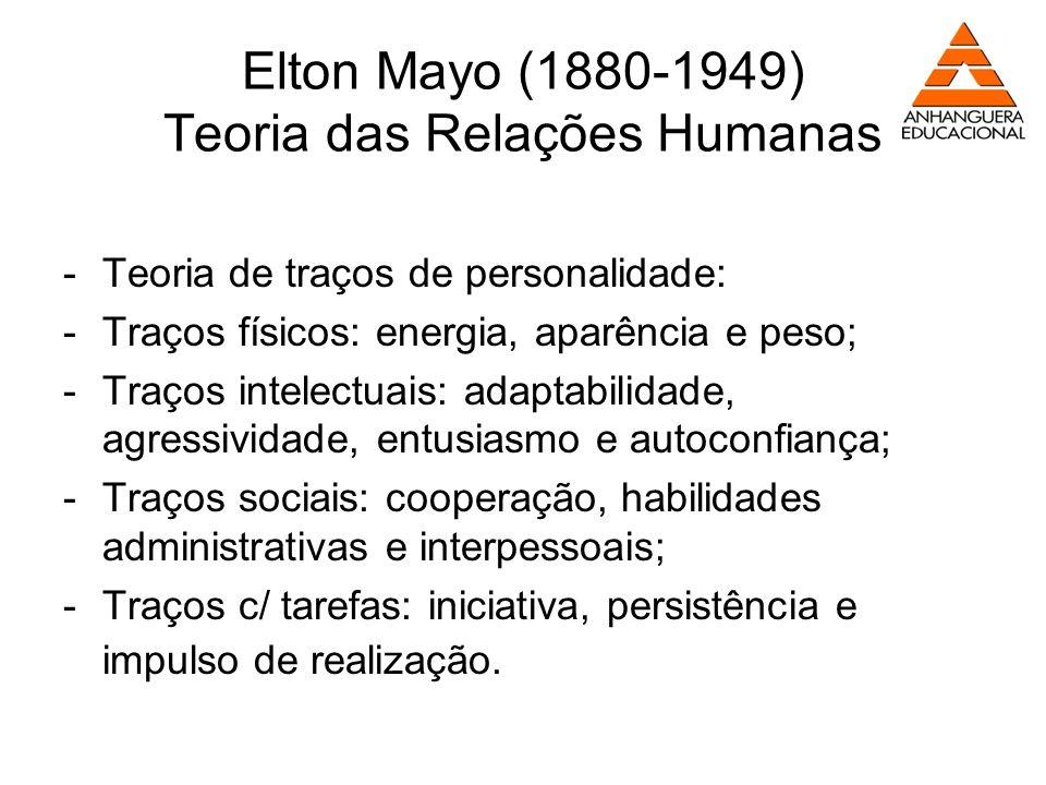 Elton Mayo (1880-1949) Teoria das Relações Humanas -Teoria de traços de personalidade: -Traços físicos: energia, aparência e peso; -Traços intelectuai