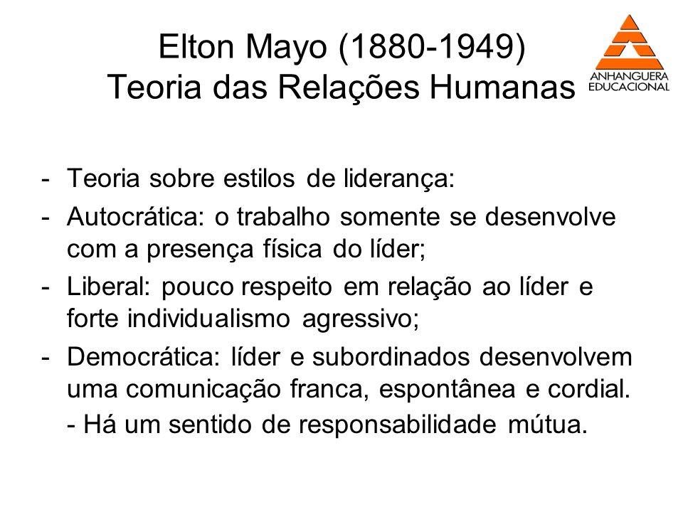 Elton Mayo (1880-1949) Teoria das Relações Humanas -Teoria sobre estilos de liderança: -Autocrática: o trabalho somente se desenvolve com a presença f