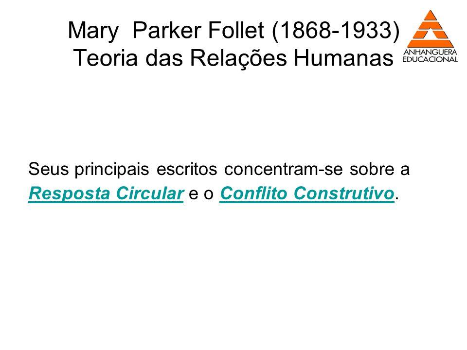 Mary Parker Follet (1868-1933) Teoria das Relações Humanas Seus principais escritos concentram-se sobre a Resposta Circular e o Conflito Construtivo.