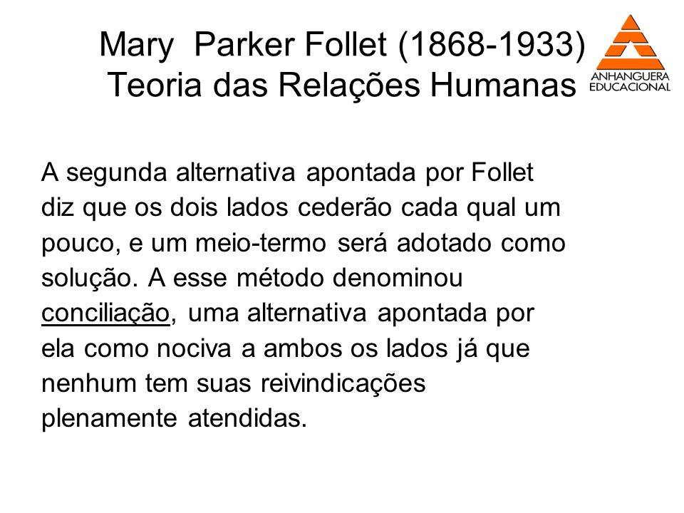 Mary Parker Follet (1868-1933) Teoria das Relações Humanas A segunda alternativa apontada por Follet diz que os dois lados cederão cada qual um pouco,