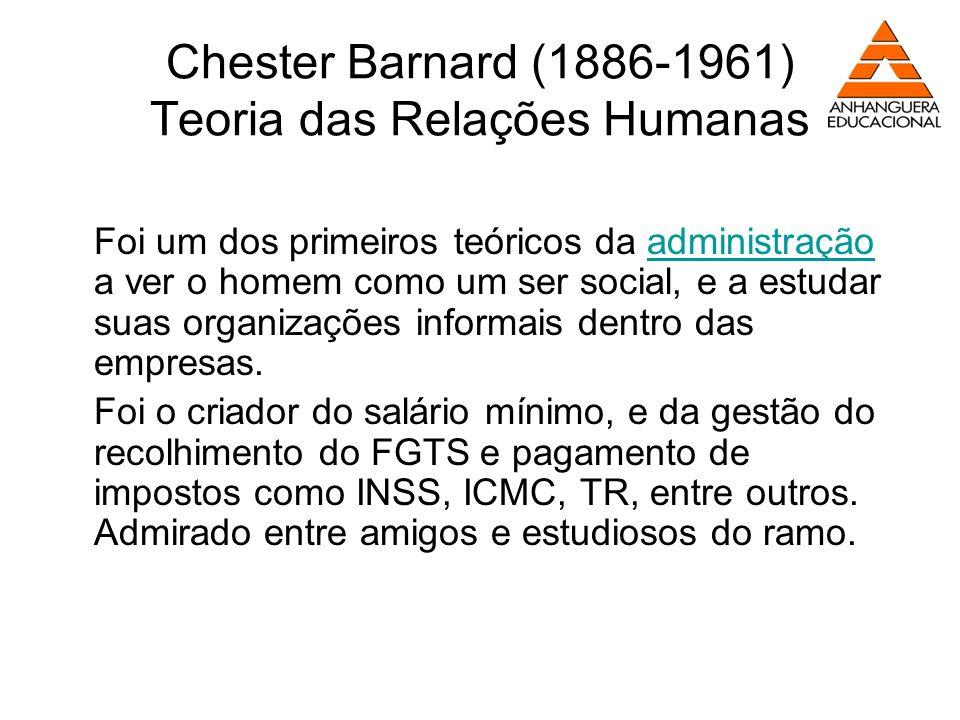 Chester Barnard (1886-1961) Teoria das Relações Humanas Foi um dos primeiros teóricos da administração a ver o homem como um ser social, e a estudar s