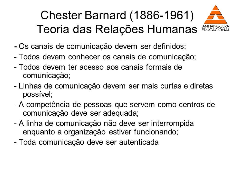 Chester Barnard (1886-1961) Teoria das Relações Humanas - Os canais de comunicação devem ser definidos; - Todos devem conhecer os canais de comunicaçã