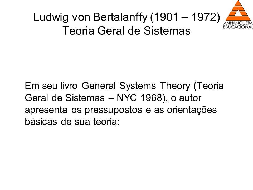Ludwig von Bertalanffy (1901 – 1972) Teoria Geral de Sistemas Em seu livro General Systems Theory (Teoria Geral de Sistemas – NYC 1968), o autor apres