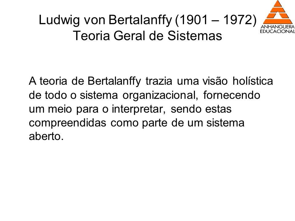 Ludwig von Bertalanffy (1901 – 1972) Teoria Geral de Sistemas A teoria de Bertalanffy trazia uma visão holística de todo o sistema organizacional, for