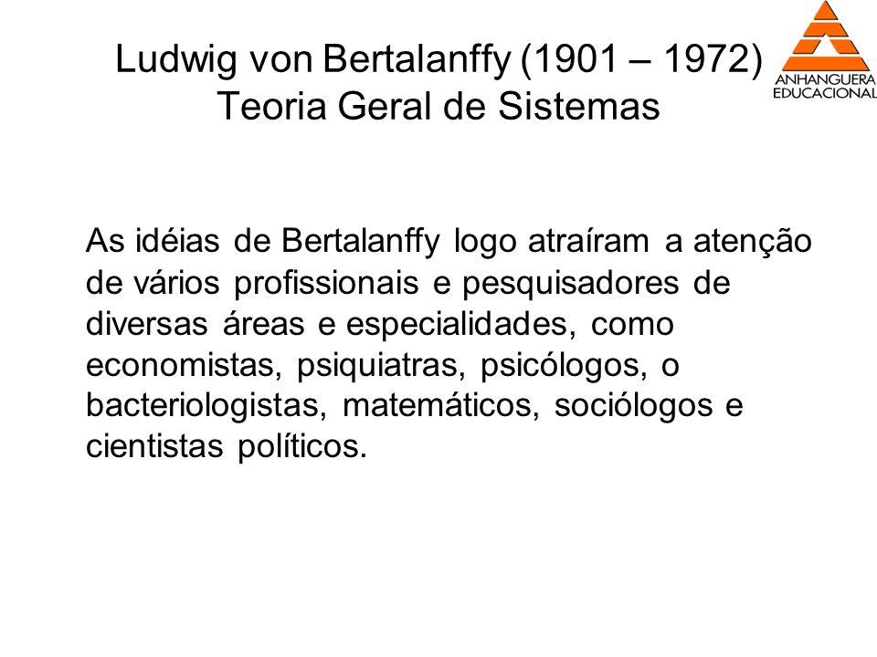 Ludwig von Bertalanffy (1901 – 1972) Teoria Geral de Sistemas As idéias de Bertalanffy logo atraíram a atenção de vários profissionais e pesquisadores
