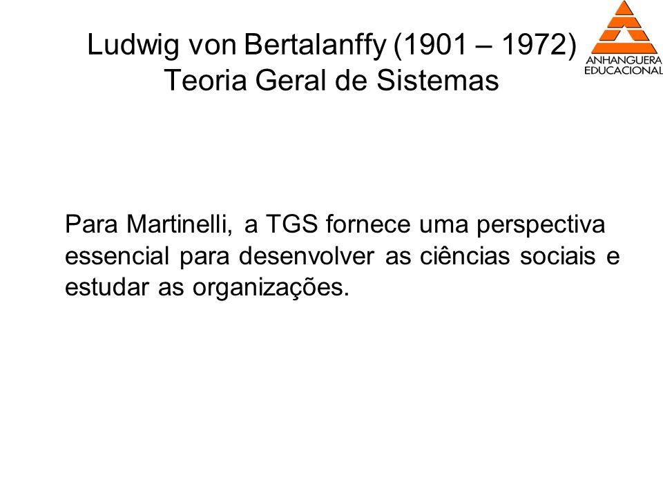 Ludwig von Bertalanffy (1901 – 1972) Teoria Geral de Sistemas Para Martinelli, a TGS fornece uma perspectiva essencial para desenvolver as ciências so