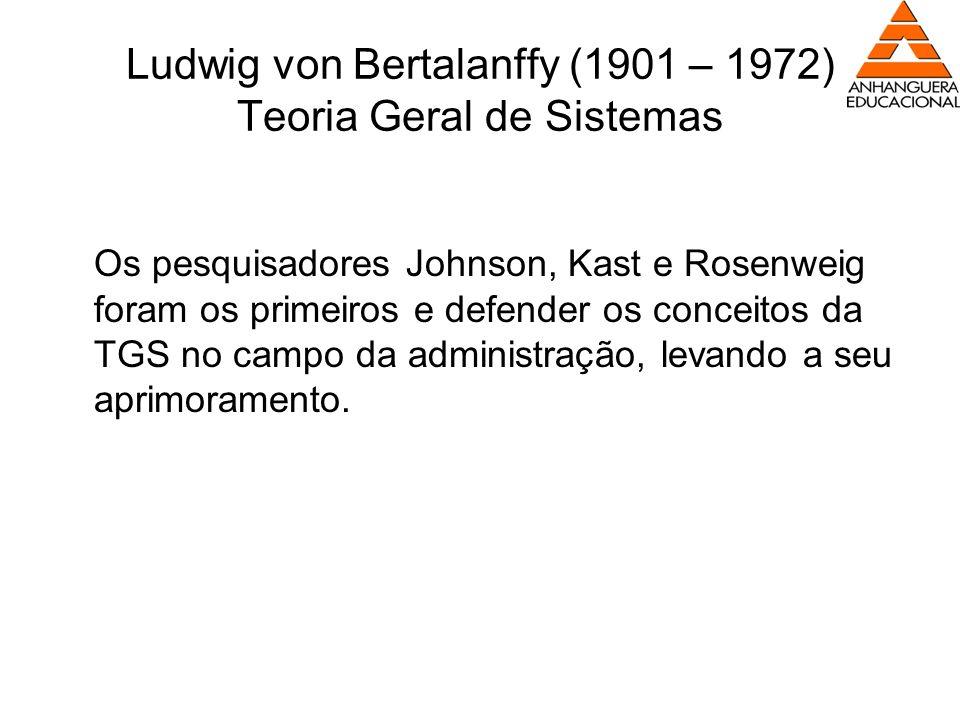 Ludwig von Bertalanffy (1901 – 1972) Teoria Geral de Sistemas Os pesquisadores Johnson, Kast e Rosenweig foram os primeiros e defender os conceitos da