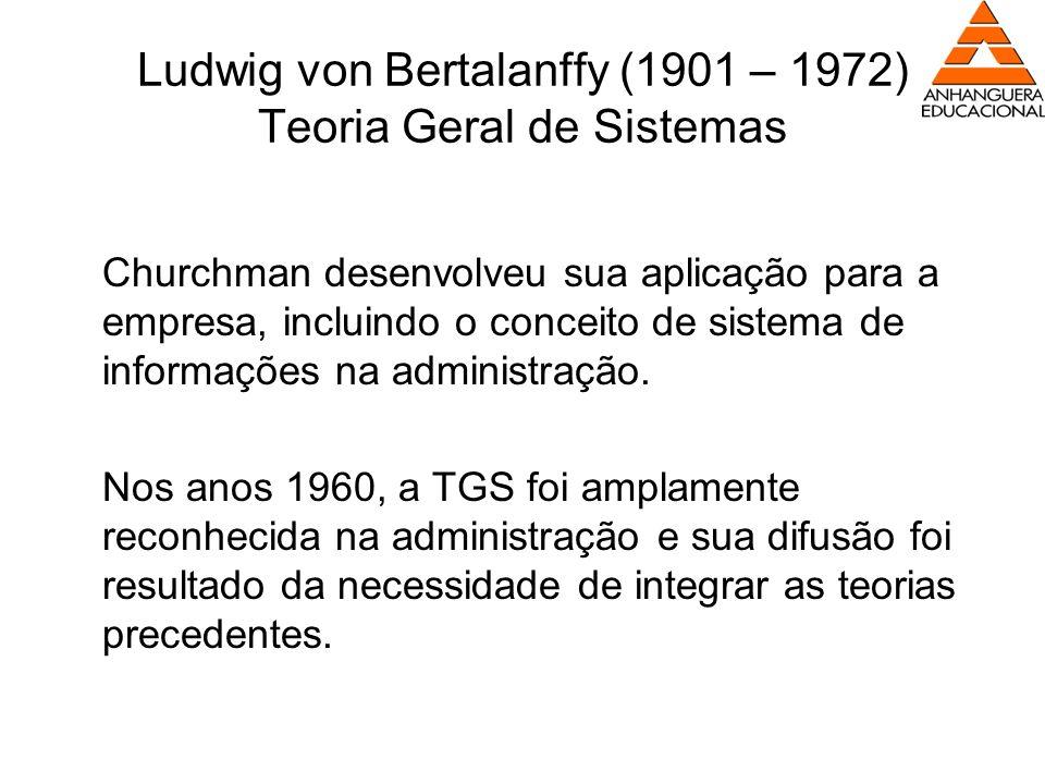 Ludwig von Bertalanffy (1901 – 1972) Teoria Geral de Sistemas Churchman desenvolveu sua aplicação para a empresa, incluindo o conceito de sistema de i