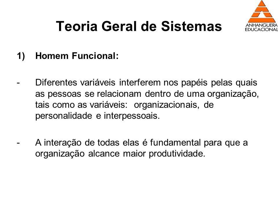 Teoria Geral de Sistemas 1)Homem Funcional: -Diferentes variáveis interferem nos papéis pelas quais as pessoas se relacionam dentro de uma organização