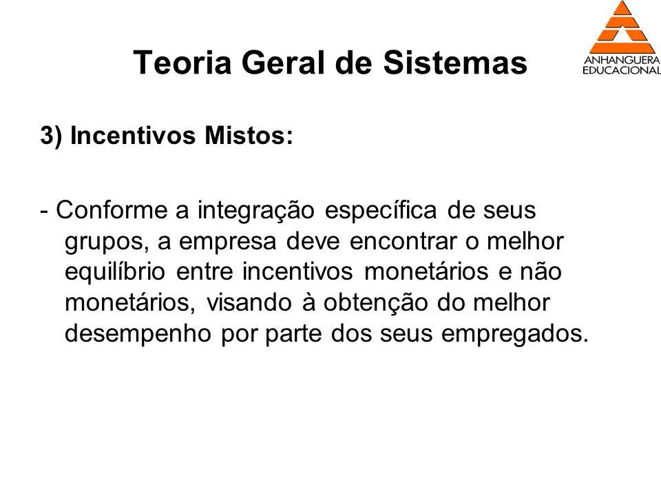 Teoria Geral de Sistemas 3) Incentivos Mistos: - Conforme a integração específica de seus grupos, a empresa deve encontrar o melhor equilíbrio entre i
