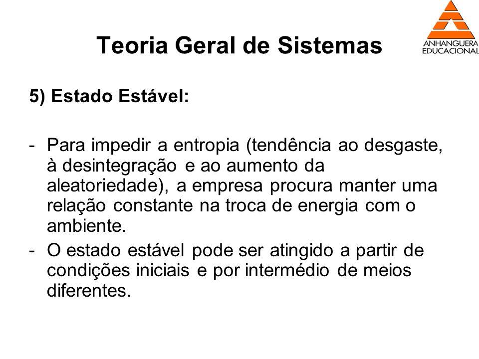 Teoria Geral de Sistemas 5) Estado Estável: -Para impedir a entropia (tendência ao desgaste, à desintegração e ao aumento da aleatoriedade), a empresa