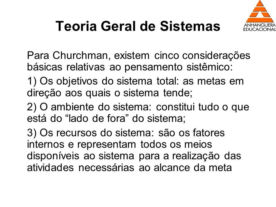 Teoria Geral de Sistemas Para Churchman, existem cinco considerações básicas relativas ao pensamento sistêmico: 1) Os objetivos do sistema total: as m