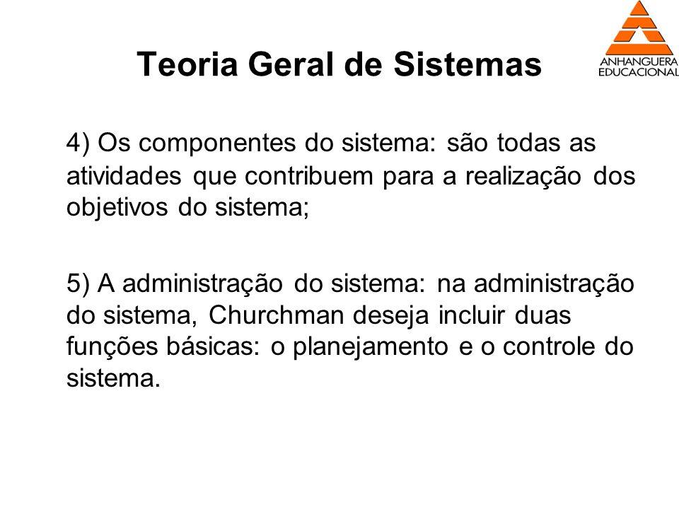 Teoria Geral de Sistemas 4) Os componentes do sistema: são todas as atividades que contribuem para a realização dos objetivos do sistema; 5) A adminis
