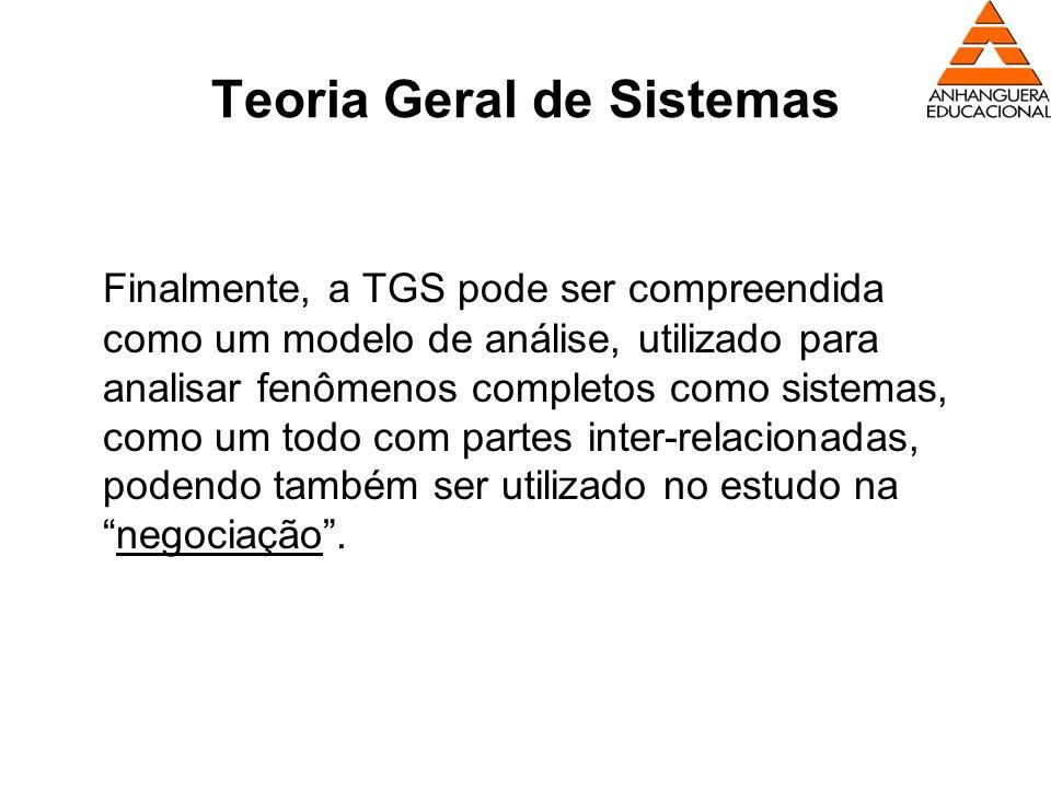 Teoria Geral de Sistemas Finalmente, a TGS pode ser compreendida como um modelo de análise, utilizado para analisar fenômenos completos como sistemas,