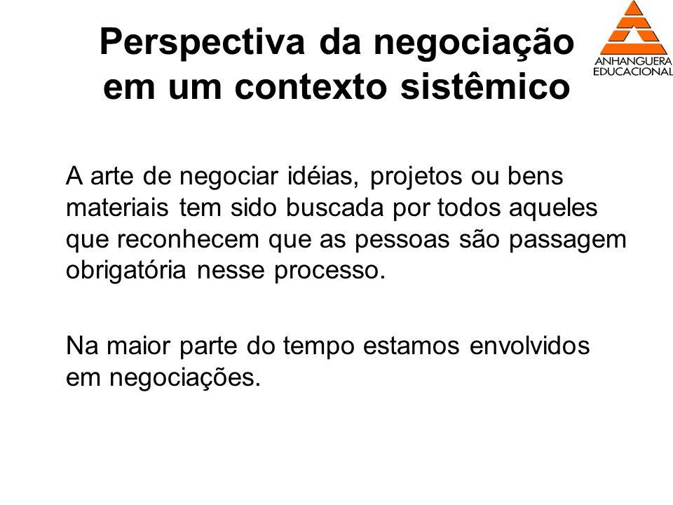 Perspectiva da negociação em um contexto sistêmico A arte de negociar idéias, projetos ou bens materiais tem sido buscada por todos aqueles que reconh