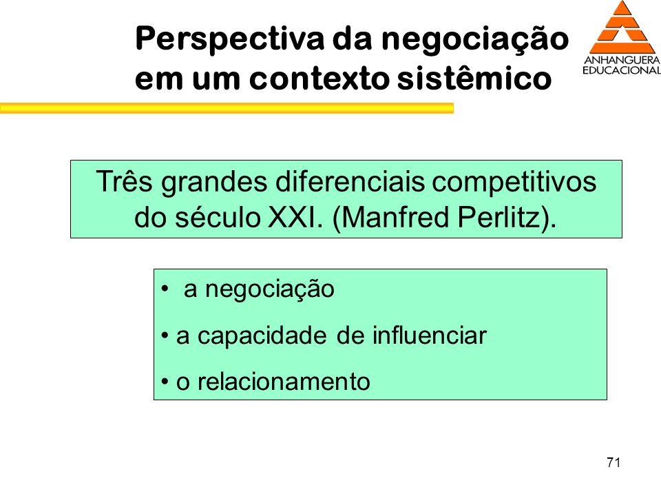 71 Perspectiva da negociação em um contexto sistêmico Três grandes diferenciais competitivos do século XXI. (Manfred Perlitz). a negociação a capacida