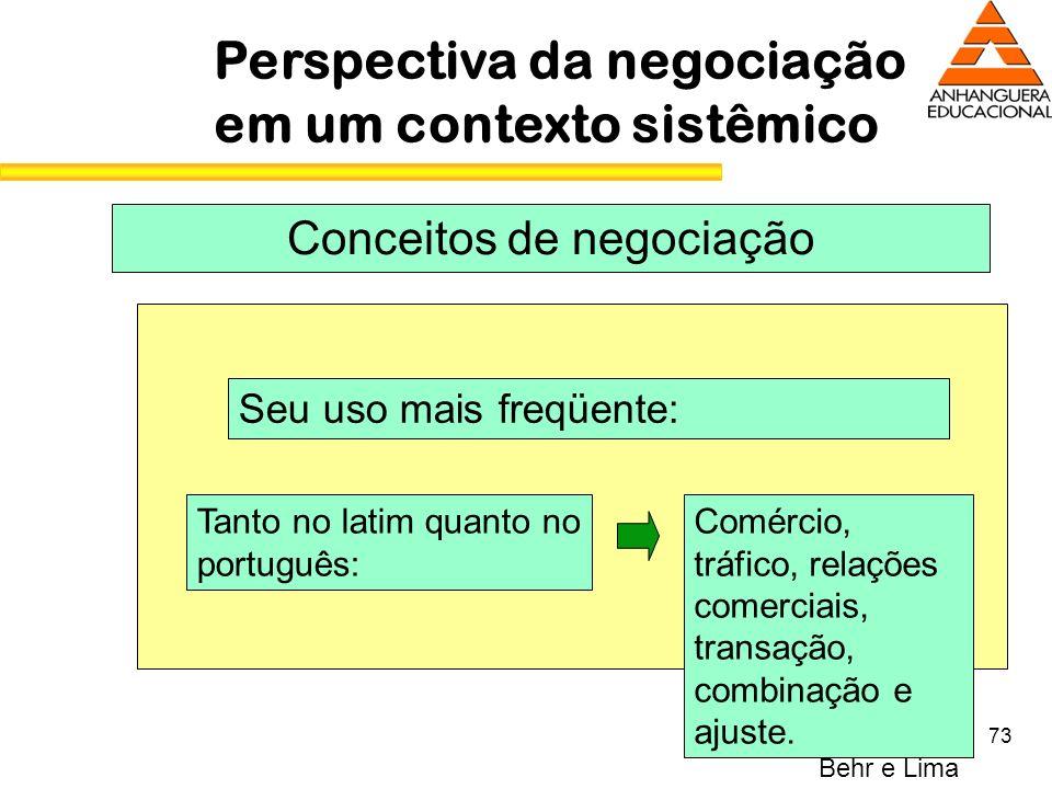 73 Perspectiva da negociação em um contexto sistêmico Conceitos de negociação Seu uso mais freqüente: Tanto no latim quanto no português: Comércio, tr