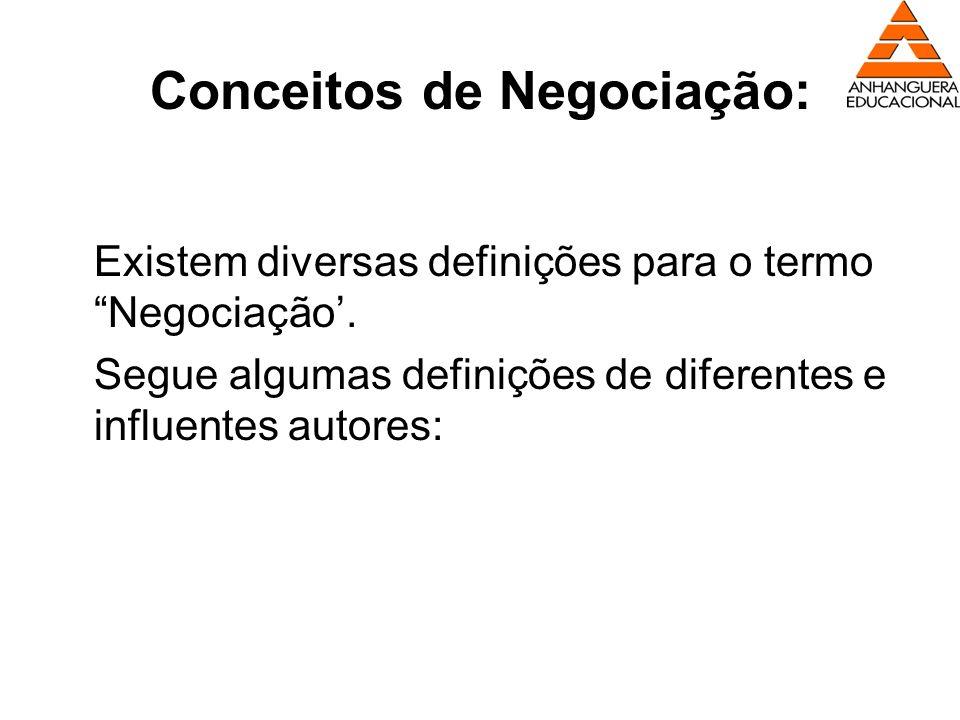 Conceitos de Negociação: Existem diversas definições para o termo Negociação. Segue algumas definições de diferentes e influentes autores: