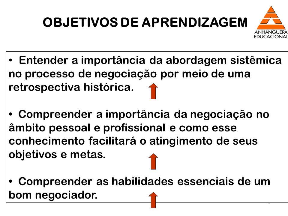 8 Entender a importância da abordagem sistêmica no processo de negociação por meio de uma retrospectiva histórica. Compreender a importância da negoci