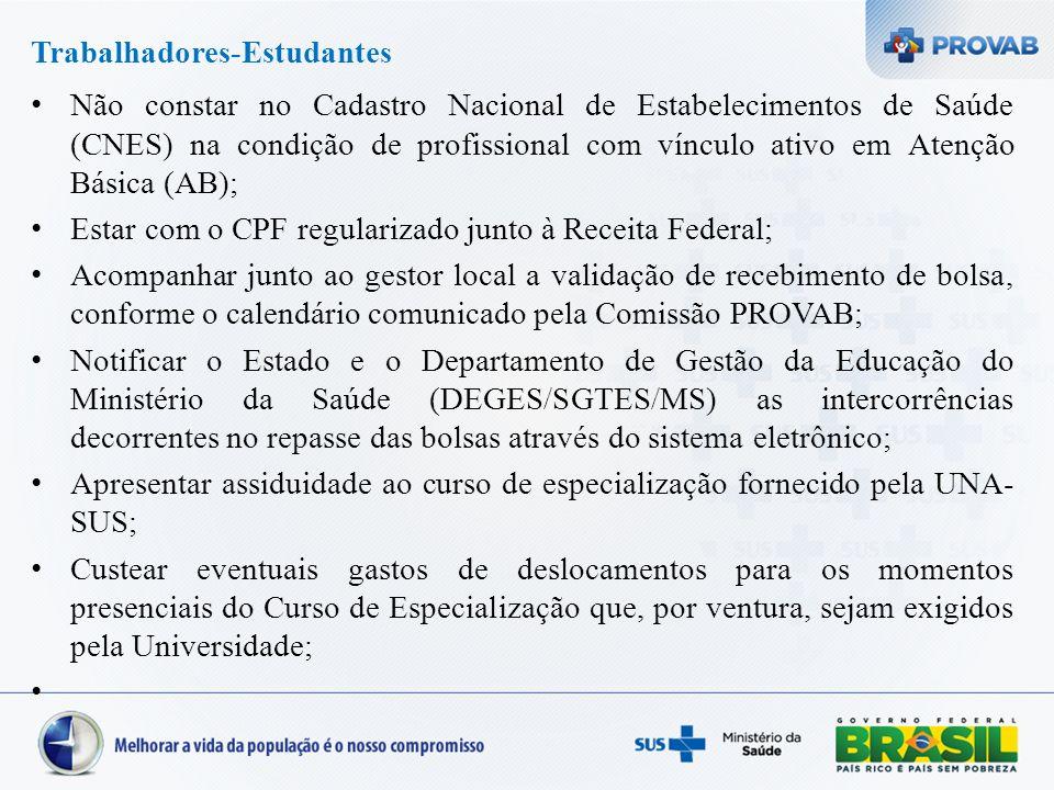 Trabalhadores-Estudantes Não constar no Cadastro Nacional de Estabelecimentos de Saúde (CNES) na condição de profissional com vínculo ativo em Atenção