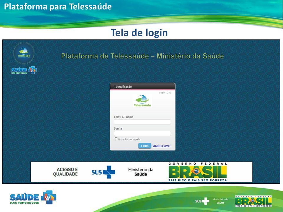 Plataforma para Telessaúde Tela de login