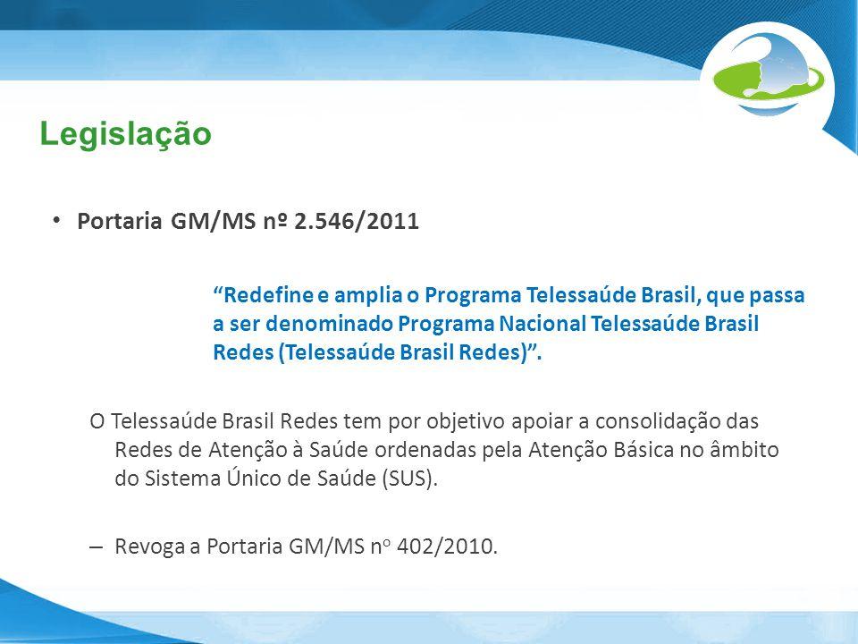 Legislação Portaria GM/MS nº 2.546/2011 Redefine e amplia o Programa Telessaúde Brasil, que passa a ser denominado Programa Nacional Telessaúde Brasil