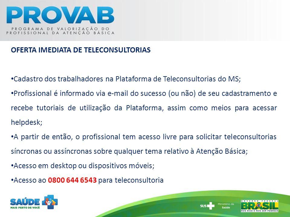 OFERTA IMEDIATA DE TELECONSULTORIAS Cadastro dos trabalhadores na Plataforma de Teleconsultorias do MS; Profissional é informado via e-mail do sucesso