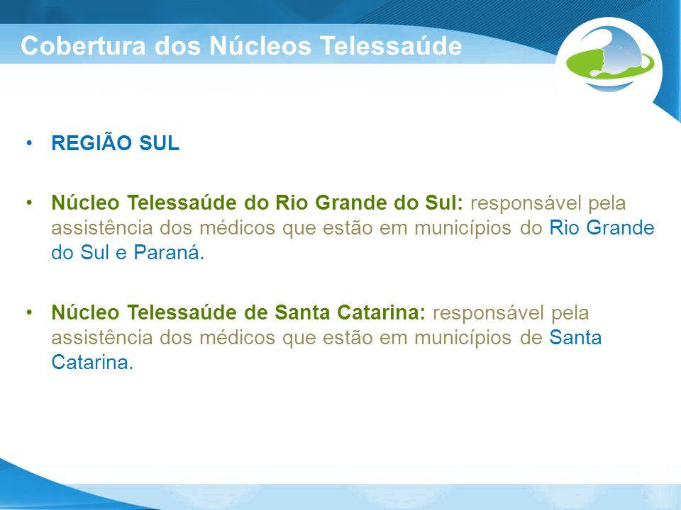 Cobertura dos Núcleos Telessaúde REGIÃO SUL Núcleo Telessaúde do Rio Grande do Sul: responsável pela assistência dos médicos que estão em municípios d