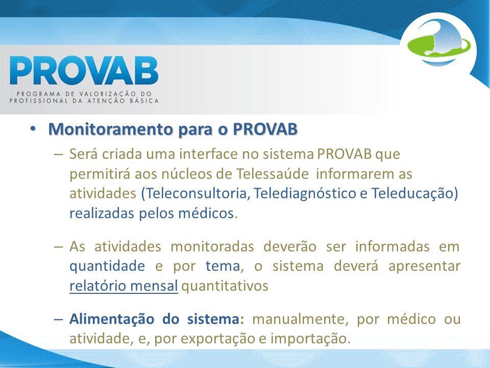Monitoramento para o PROVAB Monitoramento para o PROVAB – Será criada uma interface no sistema PROVAB que permitirá aos núcleos de Telessaúde informar