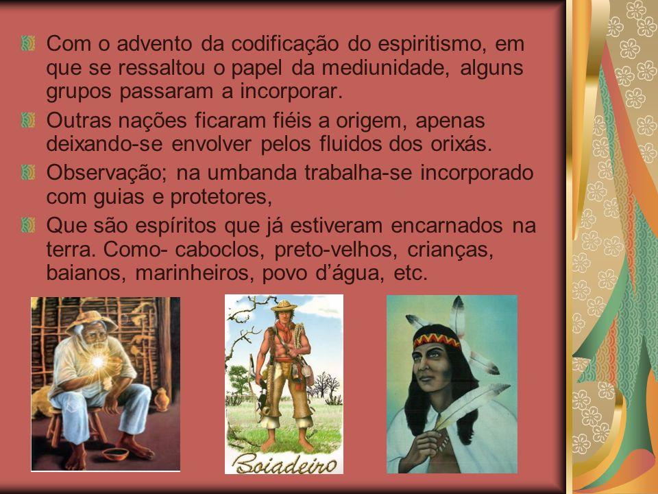 Com o advento da codificação do espiritismo, em que se ressaltou o papel da mediunidade, alguns grupos passaram a incorporar. Outras nações ficaram fi