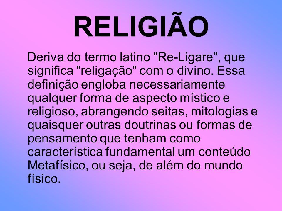 RELIGIÃO Deriva do termo latino