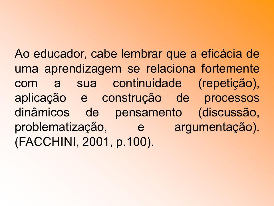 Ao educador, cabe lembrar que a eficácia de uma aprendizagem se relaciona fortemente com a sua continuidade (repetição), aplicação e construção de pro