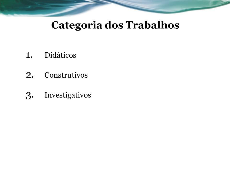 Categoria dos Trabalhos 1. Didáticos 2. Construtivos 3. Investigativos