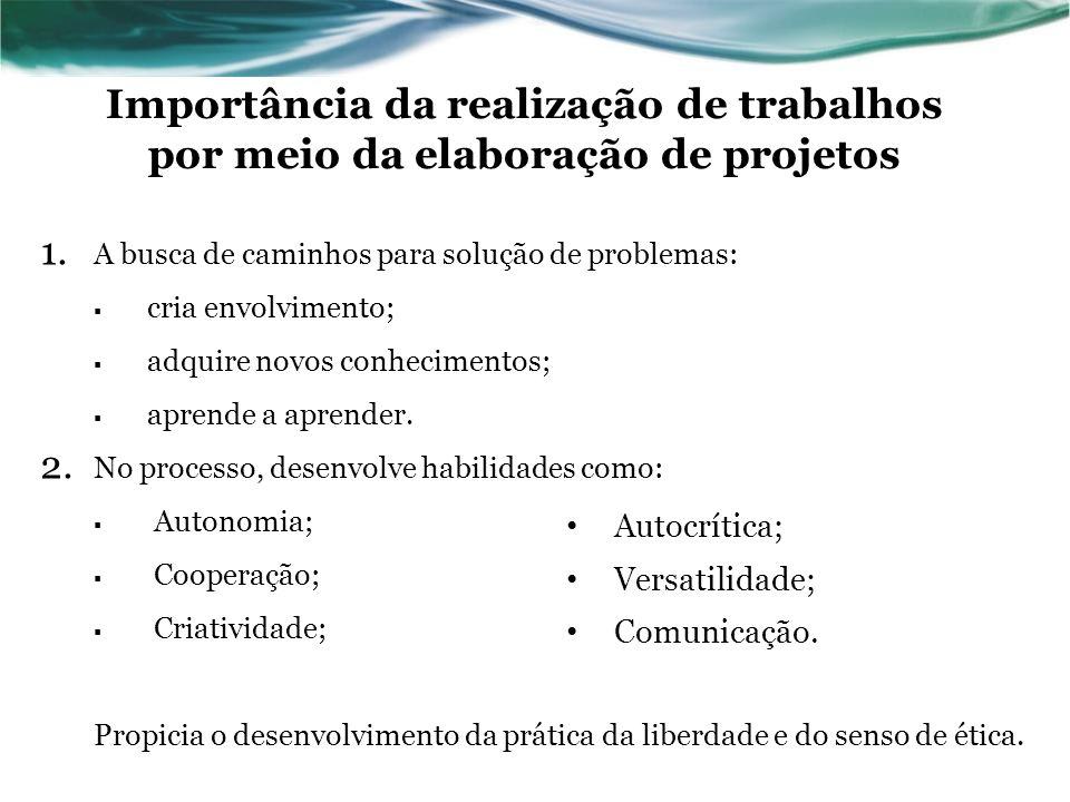 Importância da realização de trabalhos por meio da elaboração de projetos 1. A busca de caminhos para solução de problemas: cria envolvimento; adquire